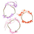Coloured Fabric Flower Elasticated Hair Garland Bandeaux with Suede Tassels.