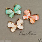 Gold Alloy Resin Crystal Butterfly Flatback Cabochon Phone Case Deco Lot 6~24pcs