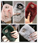Fashion Lady's Fuzzy Rabbit Fur Plush Ring Holder Stand+Strap Case Cover Skin