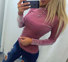 UK Fashion Womens Casual Velvet  Long Sleeve Tops Shirt Ladies T-shirt Blouse   New with tags