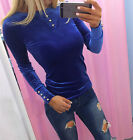 UK Fashion Womens Casual Velvet  Long Sleeve Tops Shirt Ladies T-shirt Blouse