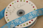 Reel Chic 22mm Blue SATIN Silver Snowflake FROZEN Style Ribbon - CHRISTMAS