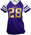 NWT Majestic Minnesota Vikings Peterson 28 Purple Jersey Womans Sizes Med, Large $34.94 USD on eBay