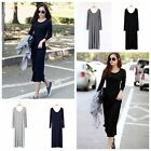 Women Winter Long Sleeve Solid Casual Big Round Neck Party Long Dress Top Blouse