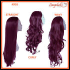 3/4 WIG #99J Cheryl Cole Red Wavy Curly Straight Long Clip in Hair Piece