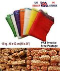 100 x Net Bags Sacks Vegetables Logs Kindling Wood Log Onions Green 45x60cm 15kg