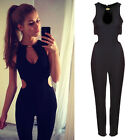 FASHION WOMENS WINTER BLACK SLEEVELESS HOLLOW OUT BACKLESS Jumpsuit Long Pants