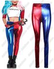 New Ladies Suicide Squad Harley Quinn Costume Metallic Shiny Look Pants Leggings