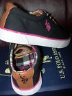 *CUTE* POLO GIRLS YOUTH BLACK CANVAS PINK Plaid SNEAKERS SHOES 11 the LAST!
