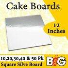 Cake Board Square Silver 12 Inches 10,20,30,40 and 50Pk Cake Boxes Cupcake Boxes