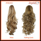 PONYTAIL #18-613 BLONDE MIX Curly Wavy Flick Falling Curls Clip Hair Extensions