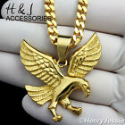 """18-36""""MEN Stainless Steel 4.5x2mm Gold Cuban Curb Link Chain EAGLE Pendant*GP95"""