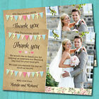 Personalised Wedding Day Thank you Cards & Envelopes, Pastel Bunting