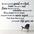 Take The Good With The Bad Life And Inspirational Quote Wall Stickers Art Decals