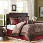 Modern 7pc Deep Red & Brown Paisley Comforter Set AND Dec...