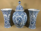 LARGE DUTCH OLD DELFT GARNITURE SET 41 CM