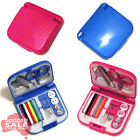 Choose Travel Sewing Kit with needles pins thread buttons in pink or blue case
