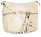 Big Handbag Shop Womens Genuine Leather Front Pocket Long Tassel Puller Bag
