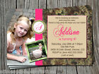 Pink Back to Nature Leaves Camoflauge Camo Birthday Party Invitation Thank you