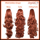 PONYTAIL #Red Golden Ginger Curly Wavy Flick Falling Curls Clip Hair Extensions