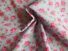 Pink roses on blue fabric 100% cotton fat quarter half metre and metre