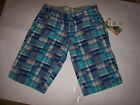 NEW ROXY bermuda patchwork walking long shorts blue turquoise plaid sz 3