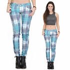 New Womens Blue Tartan Check Plaid Trousers Skinny Slim Fitted Stretch Jeans