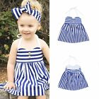 2pcs Toddler Newborn Kids Baby Girls Striped Dress+Headband Outfit Clothes Set