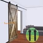8ft Country Sliding Wood Barn Door Closet Hardware Pantry for Single Door Black