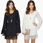 Women Lady Casual Chiffon Long Sleeve Evening Cocktail Party Short Mini Dress
