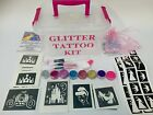 GLITTER TATTOO KIT 90 large 24mini stencils 8glitters boy girl PERSONALISED FREE