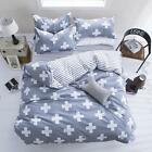 Grey Cross Single Double Queen King Size Bed Set Pillowcase Quilt/Duvet Cover