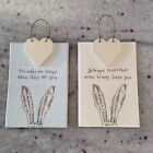 East of India Bunny Hanger Hanging Sign Gift Tag Heart Rabbit Love Token