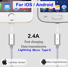 Magnetic Adapter Charger Type-C Lightning Micro USB Charging Cable Android iOS