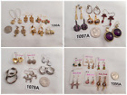 4 Groups of 6 Pair Vtg-Now Jewelry Unique Gold Silver Tone Purple Earring Bundle