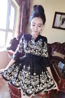Korean Style Causel Long Sleeve Lady Dress Fashion Floral V Neck Embrodery