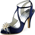 EP11058 Navy Blue Heels Rhinestone Buckle Pearls Sandals Satin Prom Party Shoes