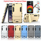 Hybrid Rugged Rubber Protective Case +Premium Tempered Glass Film For LG X Power