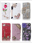 Leather Bling Flip Wallet Diamond Rhinestone Crystal Card Case Cover For Phones