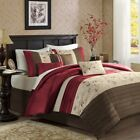 7pc Rich Red and Brown Embroidered Floral Comforter Set AND Decorative Pillows