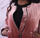 Dusty Pink Velvet Bomber Jacket Zippered Front and Pockets