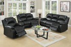 Black Bonded Leather Motion Sofa and Loveseat Set Recliner Rocker Chair Living