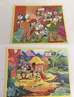Lot of 2 Vintage Jaymar Walt Disney's Inlaid TV Picture Puzzle Donald Mickey1962