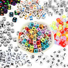 600 Acrylic White Alphabet Cube Beads Mixed Letters Colourful Black Transparent