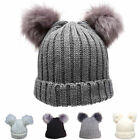 Womens Celebrity Warm Winter Wool Knit Beanie Fur 2 Pom Pom Cap