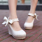 Sweet Women Round Toe Mary Janes Chunky Wedges Heel Bowknot Crepper Shoes New
