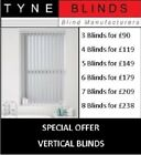 *Bargain* 5 VERTICAL BLINDS - £125 (headrail & slats) DALIA up to 6ft w x 7ft d