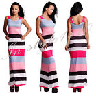 Fashion Sexy Women Long Sleeve Dress Pink Stripe Wave Boho Long Maxi Bodycon Hot