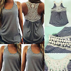 Fashion Women Summer Lace Vest Top Sleeveless Casual Tank Blouse T-Shirt