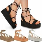 New Womens Ladies Low Wedge Platform Sandals Strappy Summer Holiday Shoes Size